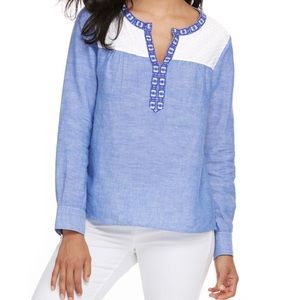 Vineyard Vines Light Chambray Embroidered Top